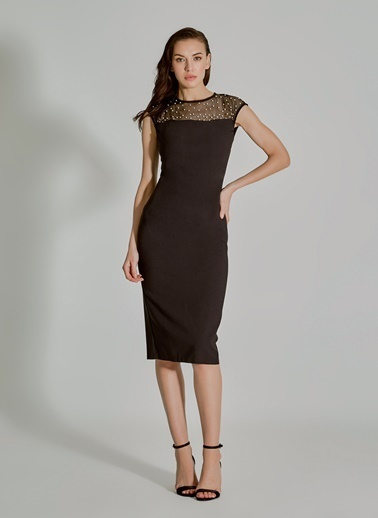 People By Fabrika İnci Detaylı Elbise Siyah